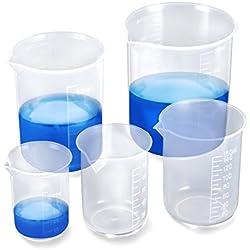EFANTUR Vaso Medidor 5 pcs Jarra medidora plástico PP Resisitente al calor y ácido-básico Taza de Medición Transparente para Cocina y Laboratorio Medidor 50 ml / 100ml / 150ml / 250ml / 500ml