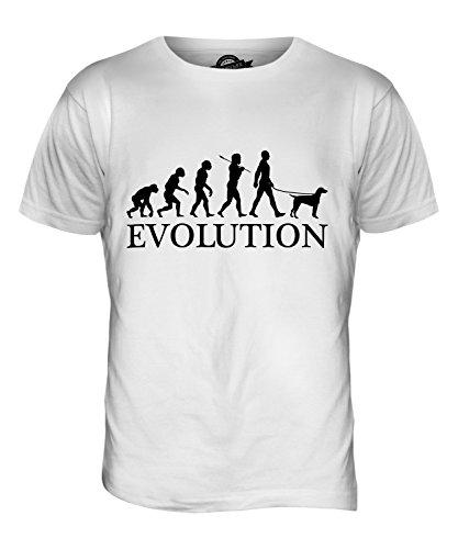 CandyMix Epagneul Breton Evolution Des Menschen Und Hund Herren T Shirt, Größe 2X-Large, Farbe Weiß (T-shirt Brittany Spaniel-weiß)