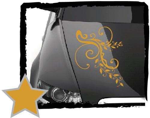 DD Dotzler Design Tuning V1 Blumenranke Floral Aufkleber für Motorhaube Heckscheibe Autoaufkleber (34 x 24 cm Gold-metallic)