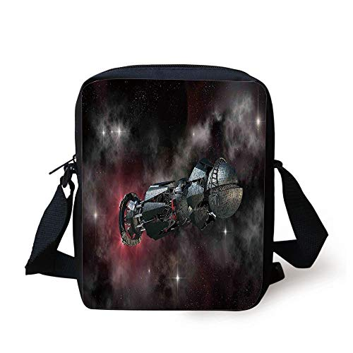 CBBBB Galaxy,Spaceship in Interstellar Travel on a Galactic Starfield Alien Fantasy Science Fiction,Black Print Kids Crossbody Messenger Bag Purse -