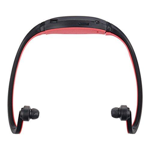 Toogoo(r) sport mp3 wma music player tf / mini slot per scheda sd auricolare senza fili auricolare per cuffie (nero e rosso)