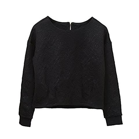 Reaso Femmes Manche longue Col Rrond Loose Blouse Casual Tops Casual Coton Sweat-shirt Crop Top Chic Top Rose imprimé Haut Mode Polos Hemd (L, Noir)
