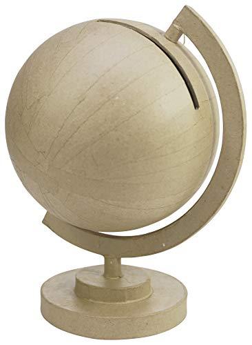 Décopatch EV015C Globus (aus Pappmaché, 23 x 23 x 29,5 cm, zu Personalisieren) 1 Stück natur