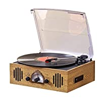DNAN Antique vinyl record player, oak retro phonograph Bluetooth audio usb breakpoint resume 2.0 stereo sound