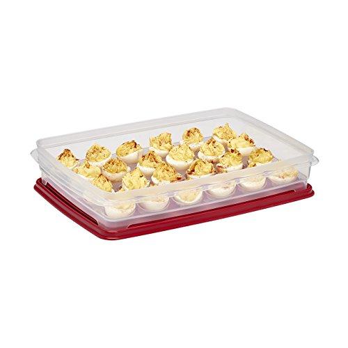 Eierhalter für Kühlschrank, Deviled Egg Tray Carrier mit Deckel - Behälter für 24 Eier rot -