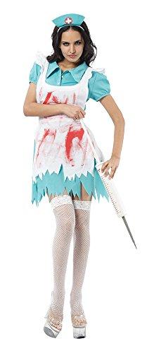 8Blut Bespritzt Krankenschwester Kostüm, UK 10–14 (Halloween Zombie Kostüme Uk)