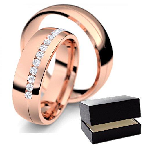 Eheringe Rotgold Eheringe / Trauringe Diamant 585 + inkl. Luxusetui + Diamant Eheringe / Trauringe Rotgold Diamanteheringe Rotgold 0,40 Carat Tw/VS (Rotgold 585) - ER07 RG585BRFA