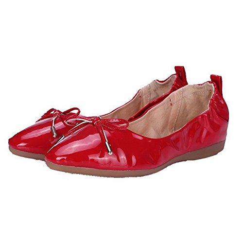 AllhqFashion Femme Pu Cuir Couleur Unie Tire Rond à Talon Bas Chaussures à Plat Rouge