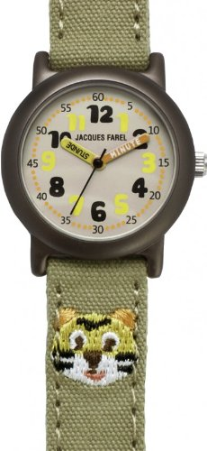 JACQUES FAREL ORG7777 ko – Kinderuhr Tiger Uhr Unisex Stoffband Aluminium 30m Analog olivgrn