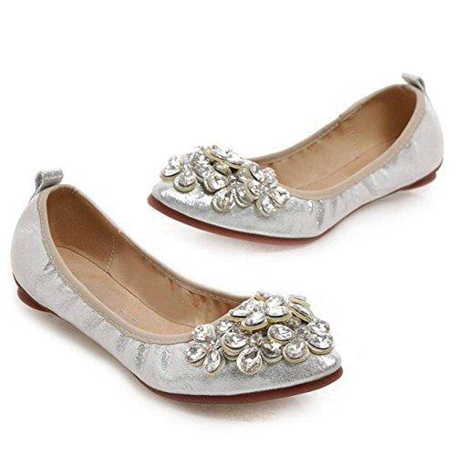 TAOFFEN Femmes Escarpins Confortable Plat A Enfiler Chaussures De Strass Argent