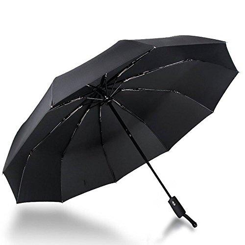 Regenschirm Taschenschirm, CUXUS Winddicht Stockschirm mit 210T Stoff Wasserabweisende Teflon-Beschichtung, Automatischer Auf-Zu-Automatik Transportabel Kompakt Taschenschirm für Reisen