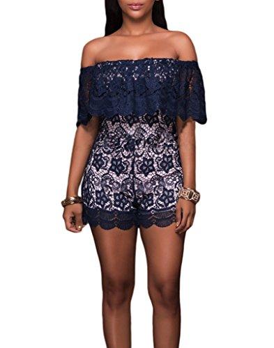 Smile YKK Combinaison Bustier Fmme Dentelle Jumpsuit Sexy Romper Combinaisons Shorts Soirée Mode Bleu Foncé