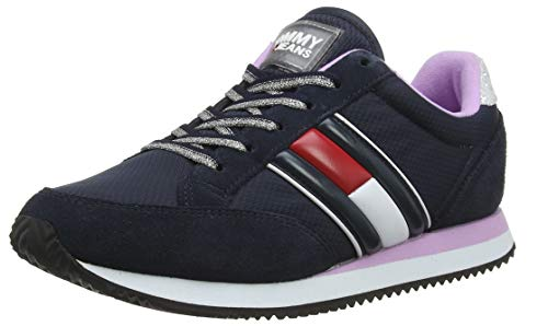 Tommy Hilfiger Damen WMNS Casual Retro Sneaker, Blau (Midnight/Orchid Bouquet 0g6), 39 EU