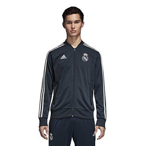 adidas - Chaqueta de chándal de poliéster del Real Madrid, otoño/Invierno, Hombre, Color Tech Onix/Core White, tamaño Medium
