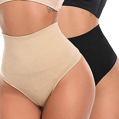 GARYOB Damen Figurformender Miederslip Bauchweg Shapewear Unterwsche Nahtlos Unterhose String Tanga 2er-Pack