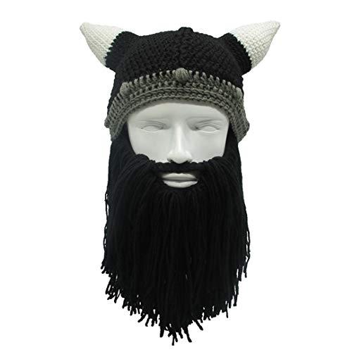 Männer/Frauen Winter häkeln Viking Beanie Hut mit Bart handgemachte Kostüm Cosplay Cap Foto Prop Black
