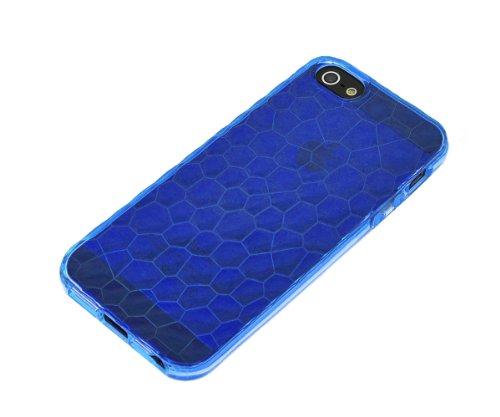 Xcessor Liquid Cell - Flexible TPU Schutzhülle für Apple iPhone SE / 5S / 5 mit Optical Illusion Bubble-Effekt. Rosa / Semi-Transparent Blue / Transparent