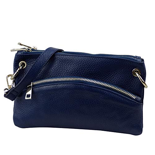 SH Leder Echtleder Umhängetasche Clutch kleine Tasche Abendtasche 24,50x14cm G1619 (Marine Blau) -