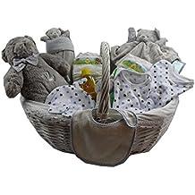 DonRegaloWeb - Cesta - Canastilla de regalo de bebé recién nacido (niño) con ropa, set de baño y albúm de recuerdos