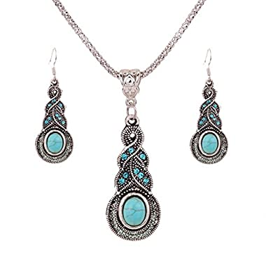 YAZILIND Jewellery Tibetan Silver Inlay Oval Turquoise Charming Crystal Necklace Earrings Set for Women