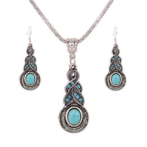 - 41DYHxgxYPL - Yazilind Jewellery Tibetan Silver Inlay Oval Turquoise Charming Crystal Necklace Earrings Set for Women