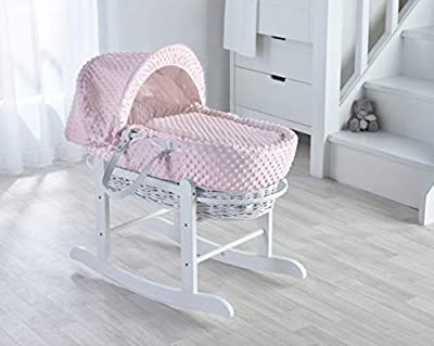 Pink Dimple on White Wicker Padded Moses Basket & Deluxe White Rocking Stand