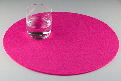 Filz Platzset Tischset rund, 4er Set , waschbar, Gilde Handwerk (pink)