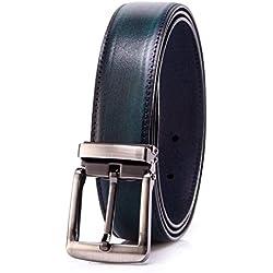 YoMeiJun Hombre Cinturón Chik A Cuero Curtido De Ancho 35mm Azul S