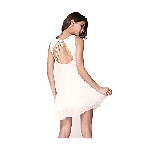 Robe élégante dentelle mousseline Blanc