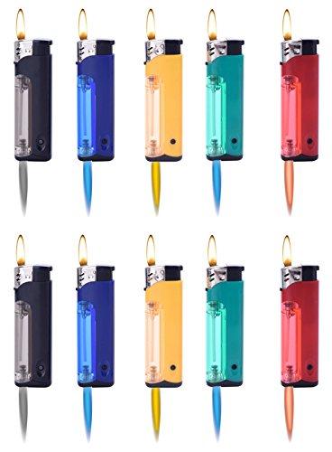 10x Feuerzeuge mit Color Licht +1x (Konsumany® Stab- Stumfeuerzeug 12,5 cm Lang)