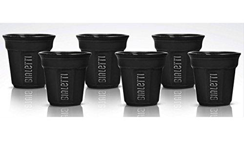 Bialetti Y0TZ501 Set de 6 Bicchierinis Céramique Noir