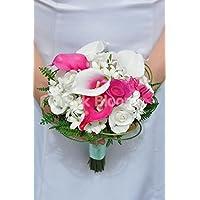 vibrante bianco Fresh touch rose e gigli rosa caldo Vermeer damigella d' onore bouquet