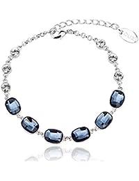Yparah-Pulsera, color azul oscuro con cristales De Swarovski, diseño De mujer