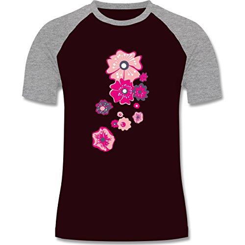 Blumen & Pflanzen - Blumen - zweifarbiges Baseballshirt für Männer Burgundrot/Grau meliert