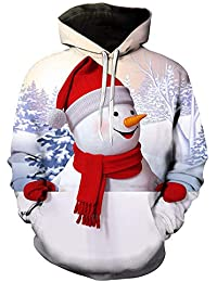 Cebbay Navidad Sudadera con Capucha Pesadilla Antes de Navidad Sudadera Hombre sin Cremallera una Navidad Llena de Amor 3D de muñeco de Nieve otoño e Invierno