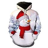 Frashing Unisex Weihnachtspullover Sweatshirts 3D Gedruckt Schneemann Weihnachtskostüm Hoodie Kapuzenjacke Mantel Mit Kapuze Herbst Winter Outwear