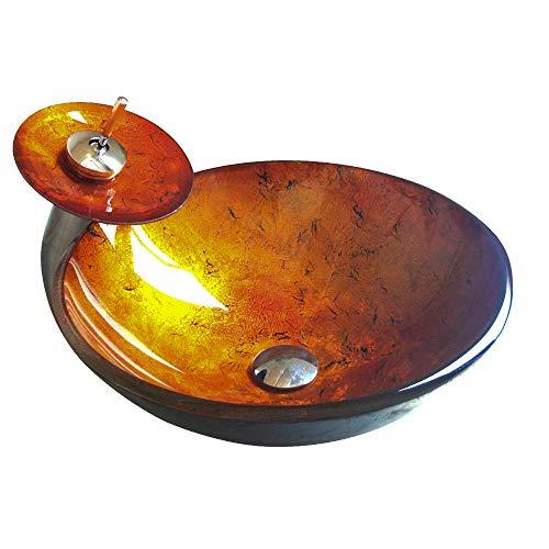 Zeitgenössische Oval Glas (HomeLava Modern Waschbecken Set Rund Gold Gehärtetes Glas Aufsatz Waschschale mit Wasserfall Wasserhahn)