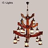 Tritow American Rural Kronleuchter Retro Massivholz Deckenleuchte Loft Industriellen Stil Pendent Lampe Kreative Nostalgische Droplight Bar Cafe Pendelleuchte Persönlichkeit Hängelampe (Größe : T)