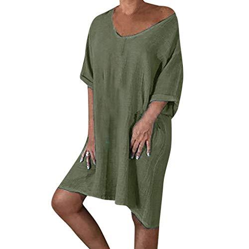 U-ausschnitt Cap-sleeve Top (Elegantes Knielanges Sommerkleid Damen Leinen Kleider V-Ausschnitt Strandkleider Einfarbig A-Linie Kleid Leinenkleider Casual Lose Tunika T-Shirt Kleid Kurzarm Blusekleider große größen)