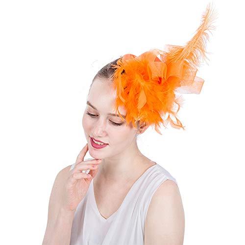 Dame Kopf Blume Lange Federn Fascinator Hüte Net Mesh Haarspange für Hochzeit Hut (Farbe : Gelb)