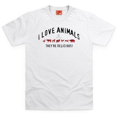 General Tee I Love Animals T-Shirt, Herren Wei