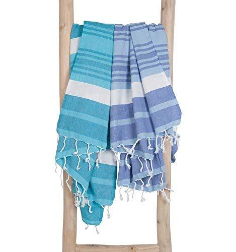 Zusenzomer fouta telo mare xxl melodi 150x200 blu bianco - asciugamano hammam grande - 100% cotone morbido - teli mare hammam disegno unico