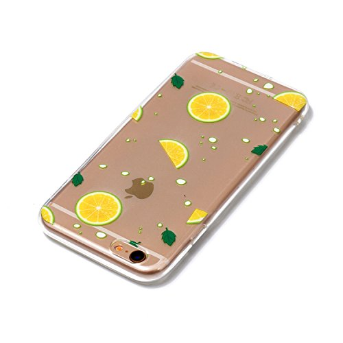 iPhone 6 6S Hülle,iPhone 6 6S Case [Scratch-Resistant] , Cozy Hut ® Ananas Design Niedliche Cartoon Malerei Silikon Hülle / Schutzhülle / Cover für iPhone 6 6S (4,7 Zoll), TPU Clear Transparent Protec Zitrone