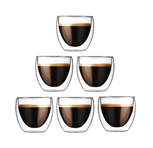 Happy sales hsgw-gtbl04doppia parete, set da 6tazze di caffè tazza da tè in vetro, bicchieri da 113,4gram