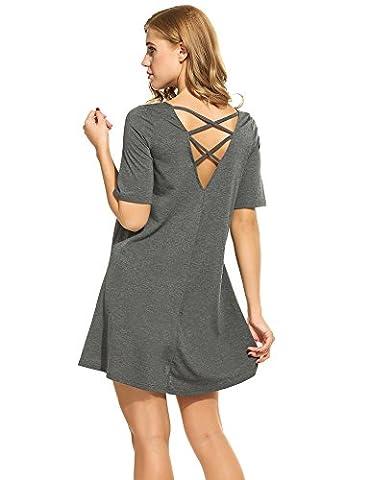 Zeagoo Women V Neck Casual Tunic Dress Short Sleeve Hollow Out Back Dark Grey L