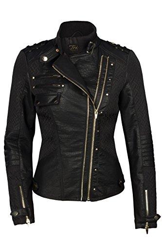 TRISENS Veste courte biker pour femme, veste de moto en cuir synthétique Noir/Or Noir - Noir