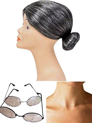 thematys® Abuela Abuelita Peluca + Gafas + Collar - Disfraz de Adulto Carnaval - Mujeres Hombres