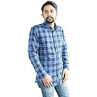 linenaffairs Men's Cotton Casual Shirt for Men Full Sleeves (XL_Checkered Blue)