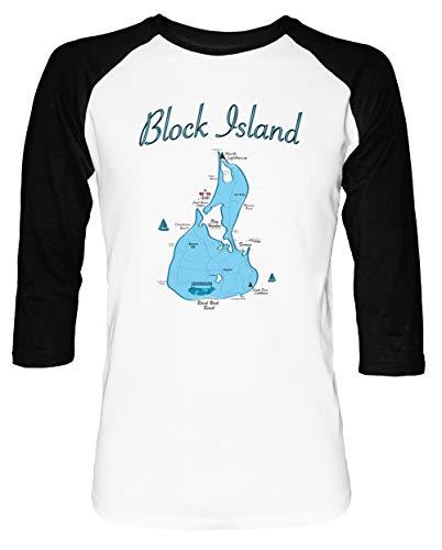 Block Island Map- Rhode Island - Block Island Herren Damen Unisex Baseball T-Shirt Weiß Schwarz 2/3 Ärmel Women's Men's Unisex - Rhode Island Block Island