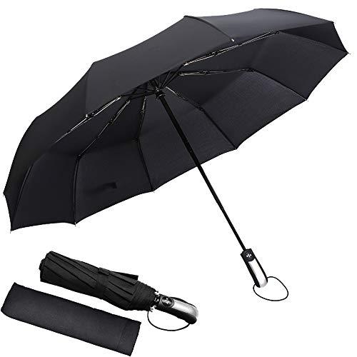 Regenschirm Taschenschirm, kompakter tragbarer Automatische Schirm, 10 Metallwal, Hochgeschwindigkeits-UV-beständiges, trockenes, wetterfestes 210T Regenschirmtuch, geeignet für Männer und Frauen -